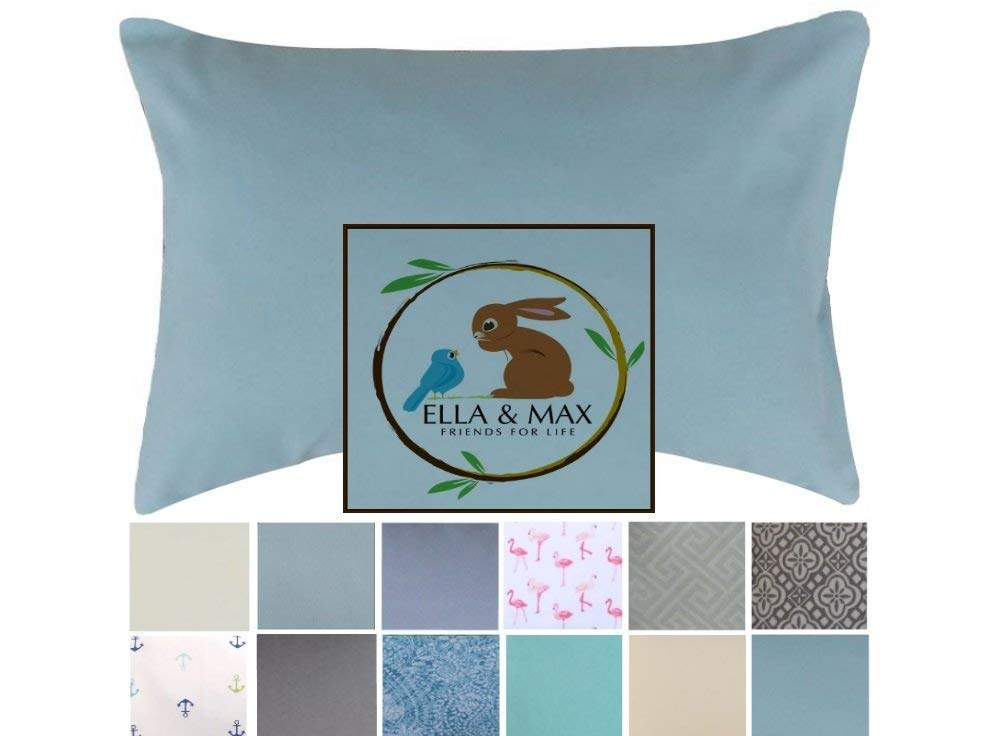 Ella & Max TODDLER PILLOWCASE. SOFT & CUDDLY. Teal Green. Fits 13 X 18 & 14 X 19. Easy to wash & no ironing. Handmade in USA. Made of luxury microfiber fabric. (Teal Green)