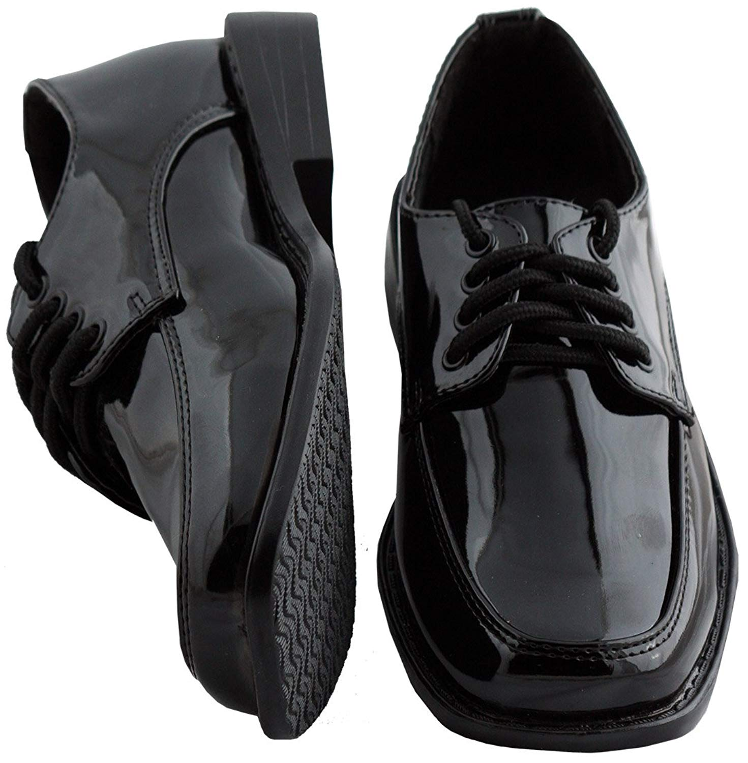 41f33ae91bd Get Quotations · Toddler   Boys Black Square Toe Tuxedo Shoes