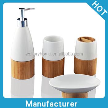 Bathroom Accessories Bamboo retail natural bamboo and ceramic bath accessories set,creative