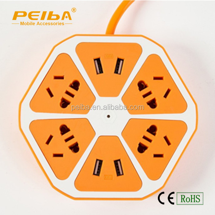 Fashional style Lemon socket with 4 usb ports and 5 holes for General purpose