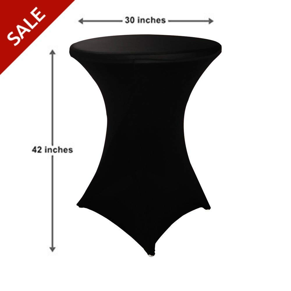 Round Bistro Table Cover Spandex Cocktail Table Covers Tall Wrinkle Free Round Fitted Stretch Table Cloth for Party Wedding Decoration (Black) & Free Ebook by Stock4All