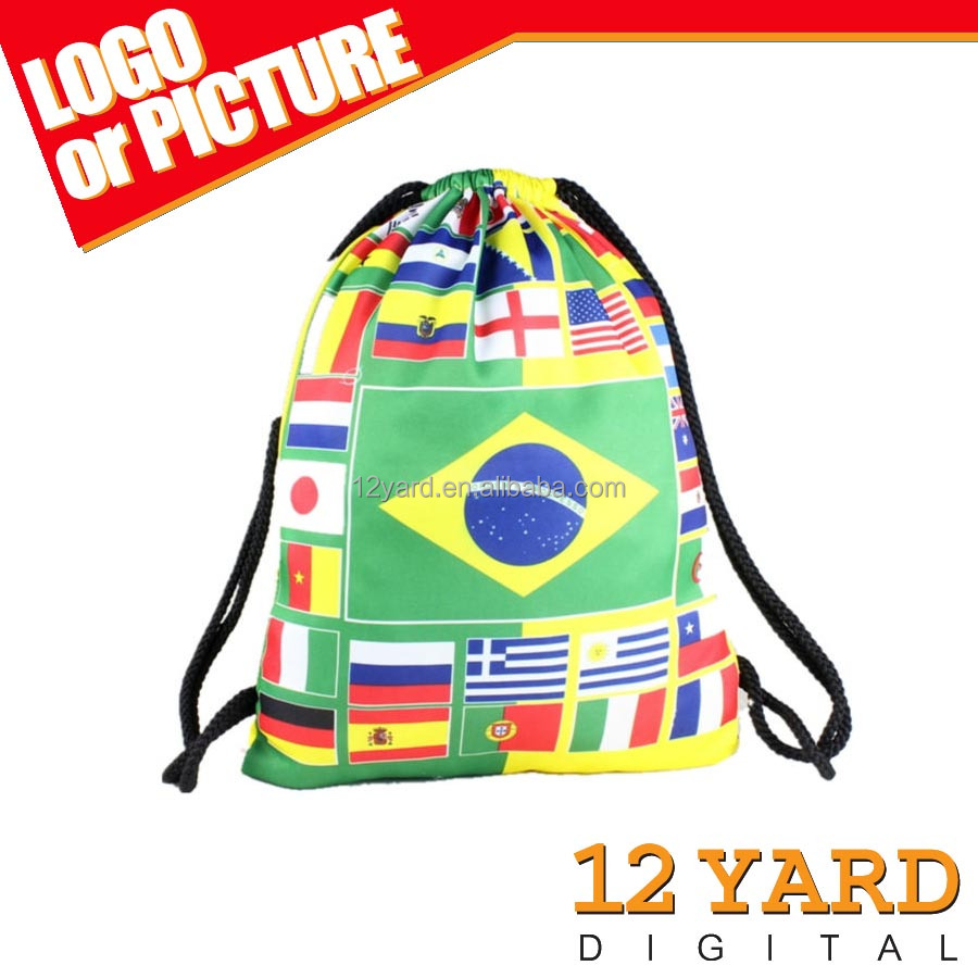 Guangzhou manufacture cheap flag printed drawstring backpack&shoe bag&strong bag