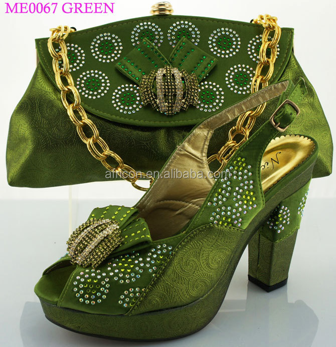 Me0067 Nigeria Green Shoes Matching Bag Ladies Party Wear Shoes And Bag To Match For Women - Buy ...