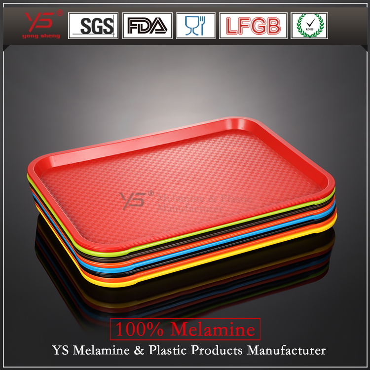 Trade assurance plastic fast food tray,100% melamine food serving tray, cheap plastic tray