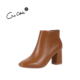 Design Slip-on Style Thick Chunky Sole Ankle Boots Sturdy Mid Heel Winter Shoes Woman Boots