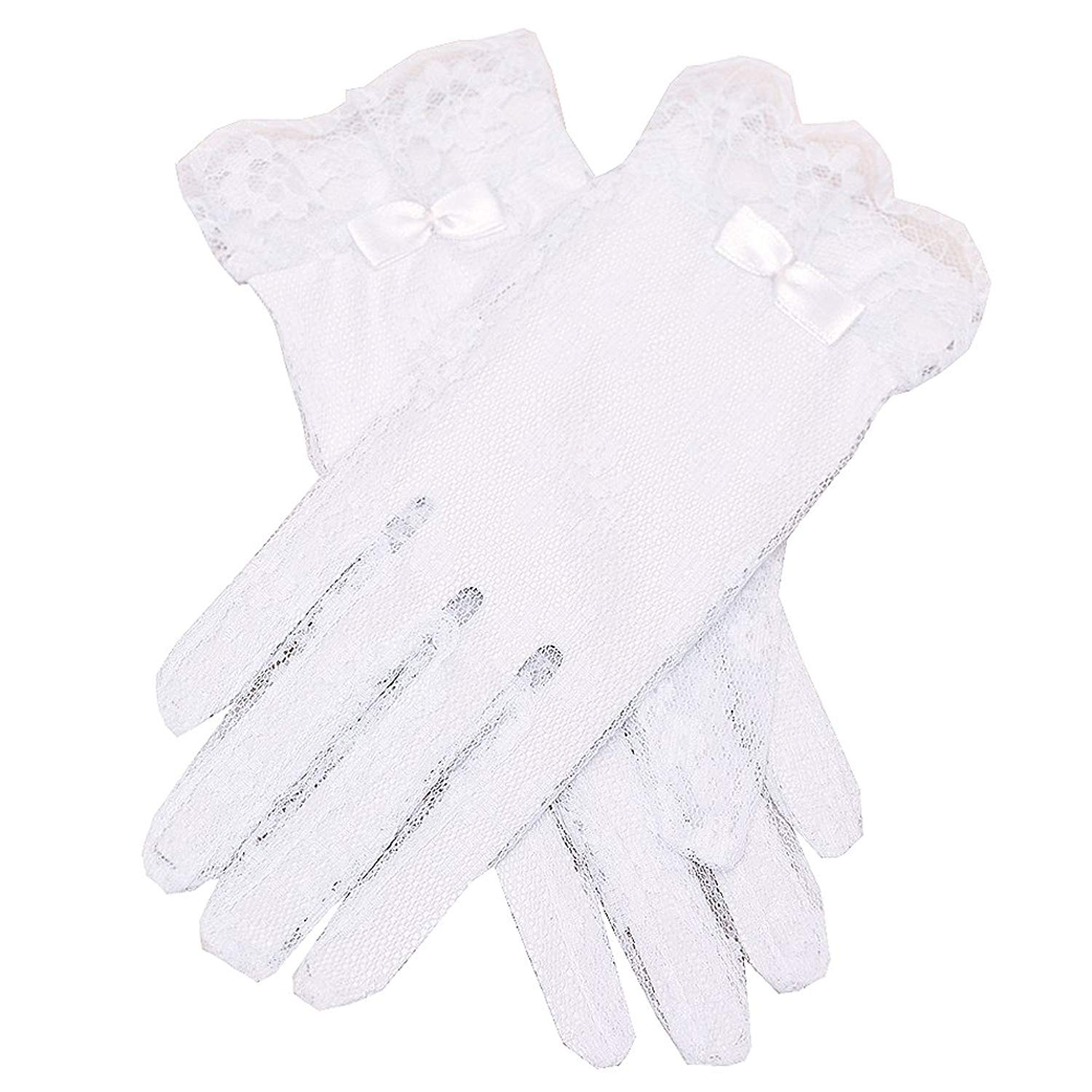 Angels Garment Girls White Lace Covered Communion Flower Girl Gloves 4-16