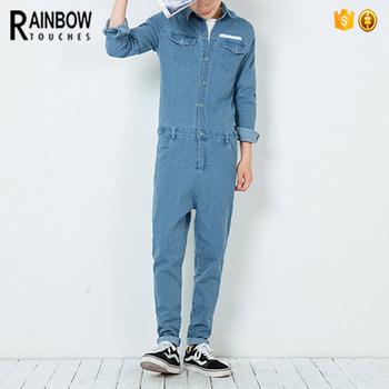 b1a4ecf2ad74 2017 Customized Hot Fashion Plain Men Button Denim Jumpsuit ...