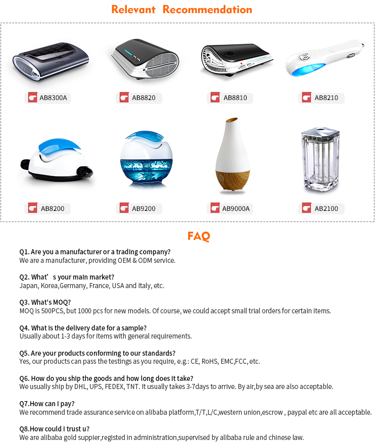 Car Air Purifier HEPA Filter  UVC sterilization lamp  air purifier with active carbon and negative ion