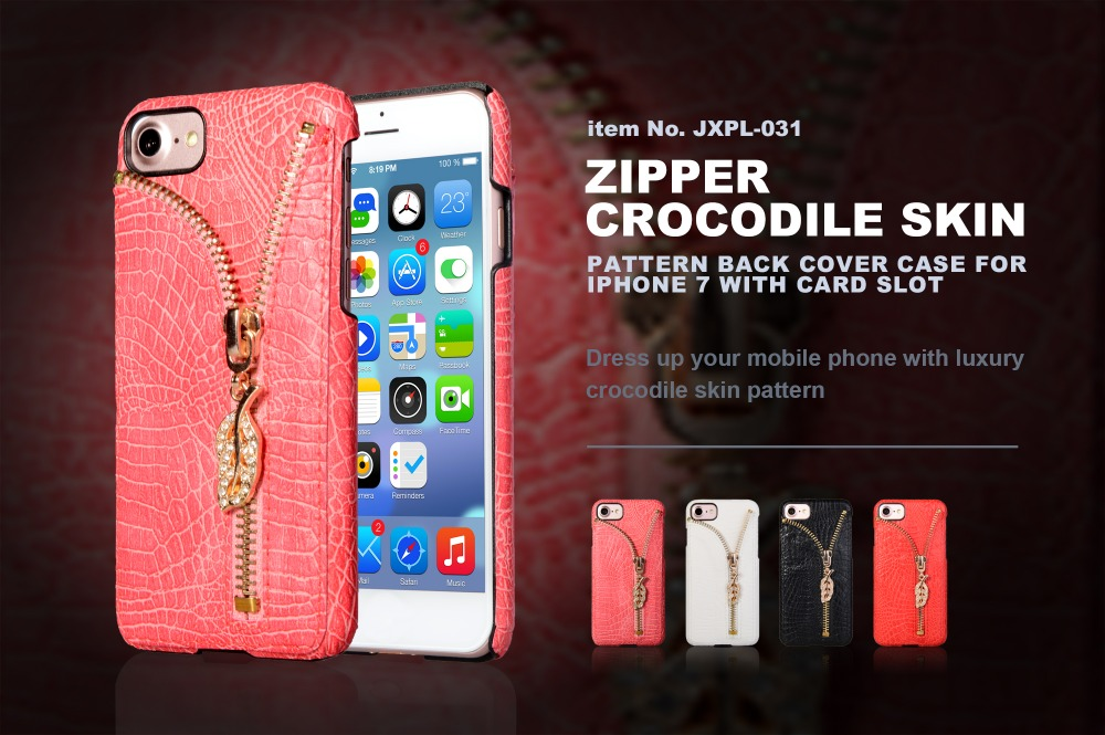 Fashion style PU leather crocodile skin back metal zipper with card slot hard PC case cover for iphone 7 7 plus
