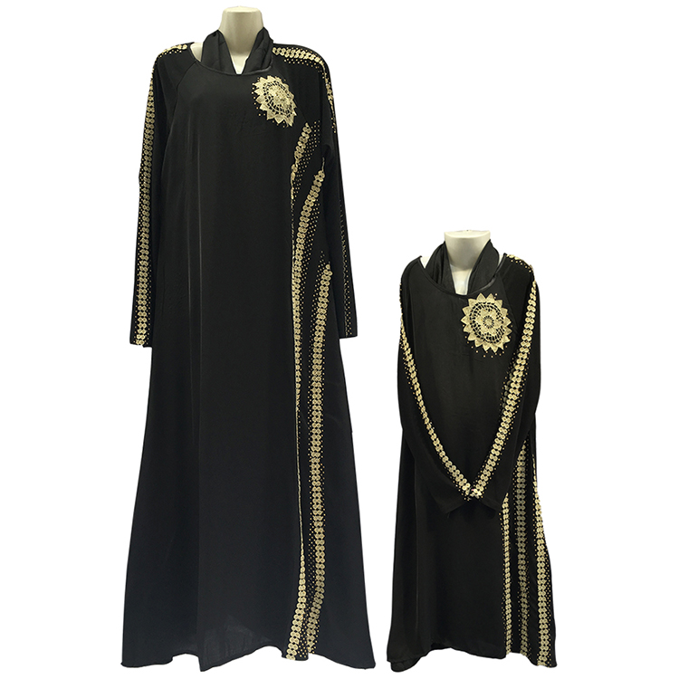Fashion Turkish Style Muslim Long Dress Abaya Hijab Turkey for Parent-child Clothing