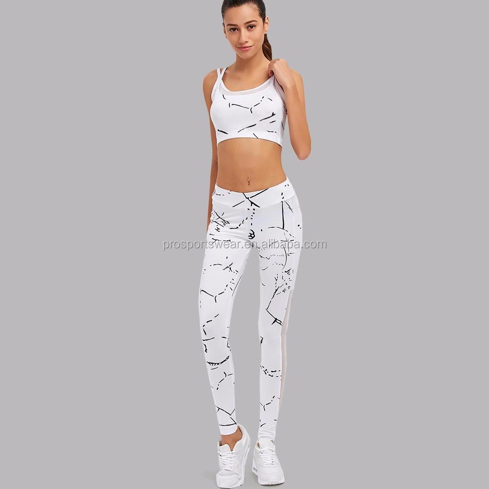 8089b07e8b22 Customized 2Pcs Women Yoga Sets Fitness Bra+Pants Leggings Set Gym Workout  Sports Wear Mesh Patchwork Leggings Running Clothing, View Indoor Sports ...