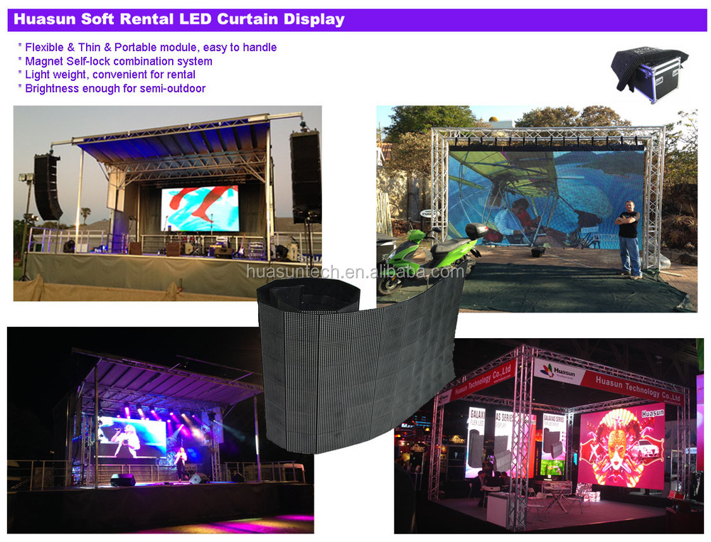 Soft Led Curtain Display / Led Video Wall / Led Fabric Display ...