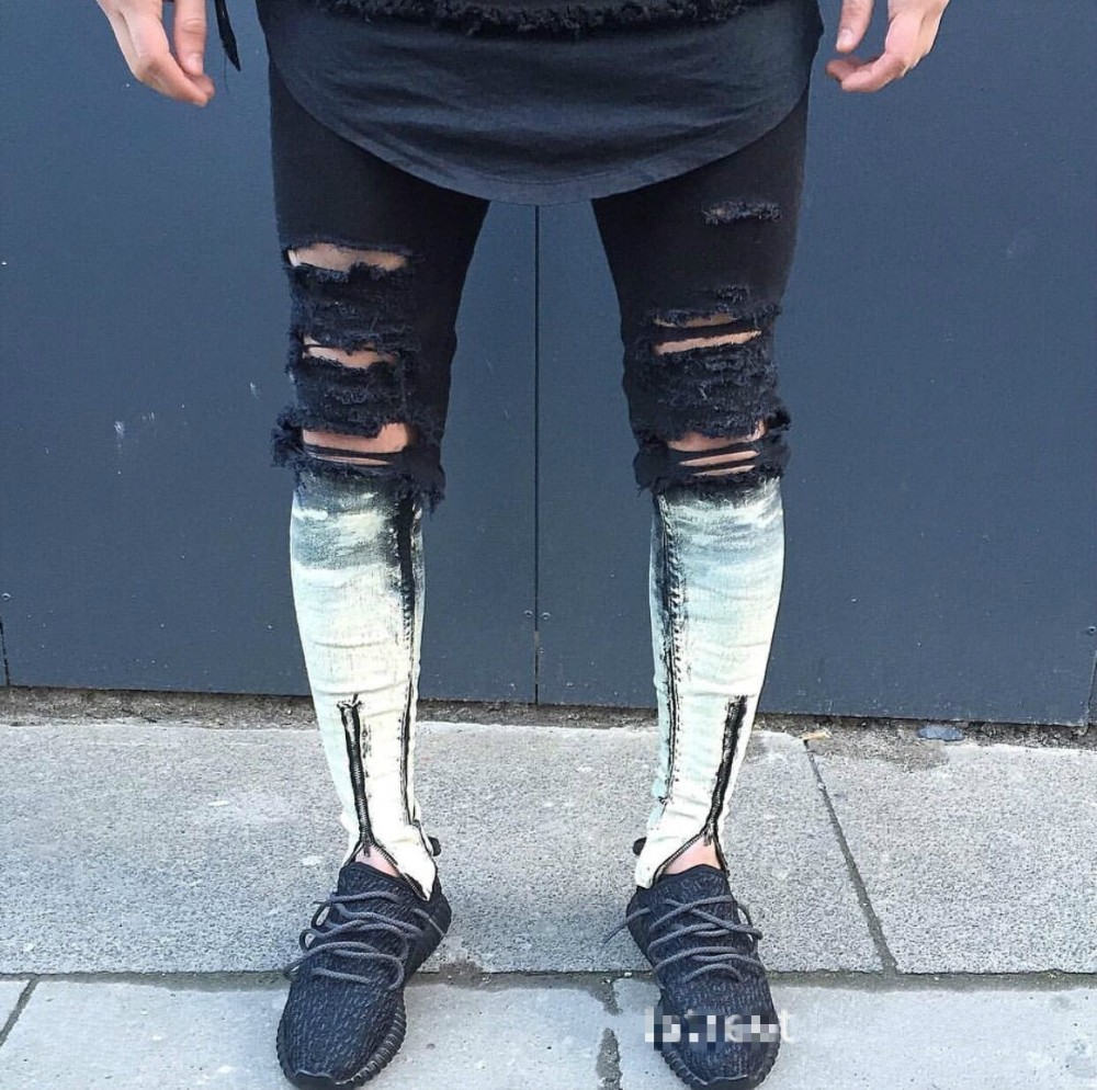 6b06d656e5 2017 mens biker skinny jeans para hombre delgado elástico jeans Denim biker jeans  pantalones en stock