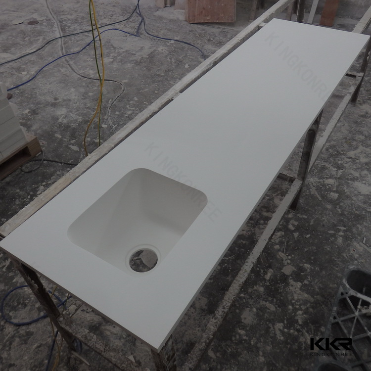 High Quality White Solid Surface Molded Sink Countertop