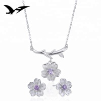 wholesale 925 sterling silver,fashion necklace wedding jewellery suit for women and girls, zirconia jewelry earrings sets