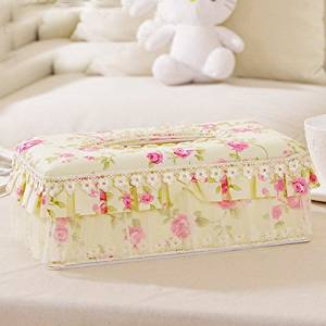 Creative Pastoral style tissue box Lace Car Pumping tray Continental Cloth Reel spool Storage Box living room tissue box Square L Cream-colored