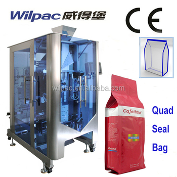 CE Approved Quad Seal Stand Up Bag Coffee Powder Beans Gusset Bag Vertical Packaging Machine