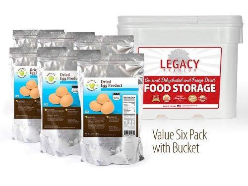 Legacy Essentials Long Term Powdered Whole Eggs - 15 Year Shelf Life Egg Powder for Emergency Food Storage Supply (Quantity 6 in Bucket)