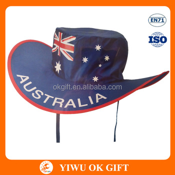 Outdoor Australian Day Flag Foldable Cowboy Hat For Aussie Tennis ... 9c4b8202ef1