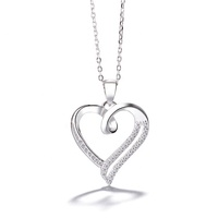 Engagement Gift Jewelry 925 Sterling Silver CZ Diamond Heart Pendant Necklace