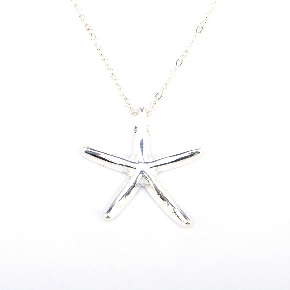 CS00525 JN wholesale simple fashionable silver starfish pendant men necklace trend silver plated friend necklaces jewelry