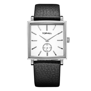 Wisdom Series Ceramic Dial Mens Stainless Steel Square Case Quart Wrist Watch