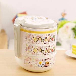 Bento Box Decoration Food Storage Cute Plastic Lunch Bento Box Cute Cartoon Student Microwave Bento Box, Material Plastic (Three Layer)
