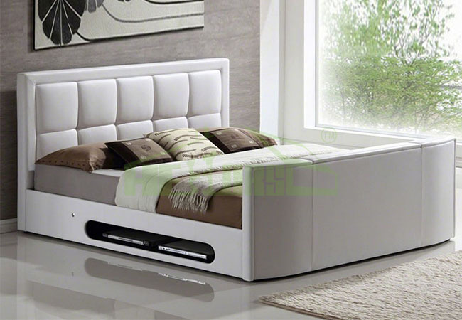 modern king size leather bed with tv in footboard tv bed bed tv lift 748b buy bed with tv in. Black Bedroom Furniture Sets. Home Design Ideas