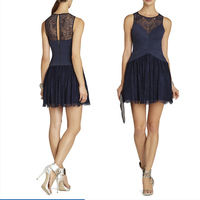 HE0107 round neckline blue lace top and back pleat short mini skirt free shipping cheap 2013 milan evening dress