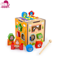2018 Hot Sale Piano Animal Intelligence Box New Shape Classic Wooden Toy Popular Baby Educational Toy for kid With 12 Shapes