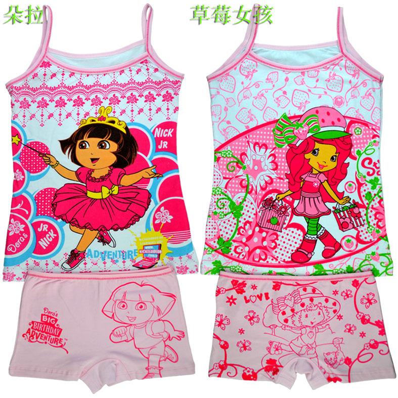 Lycra cotton underwear manufacturers selling children cartoon princess girls condole belt vest pants pajamas suit T