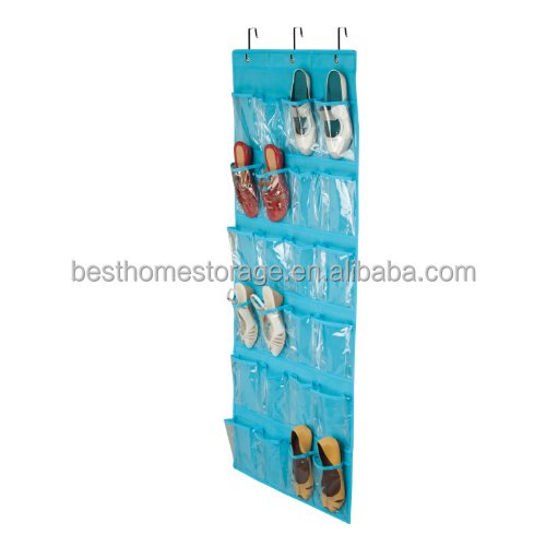 Hanging Over The Door Non-woven Fabric Shoes Organizers,24 Clear Shoe Storage Bag,(Ocean Blue)