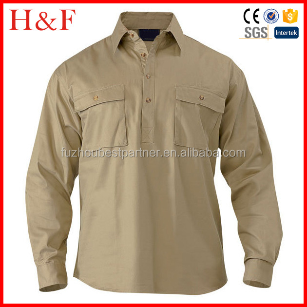 Double Breasted Pockets Poly Cotton Work Shirts Pullover - Buy ...