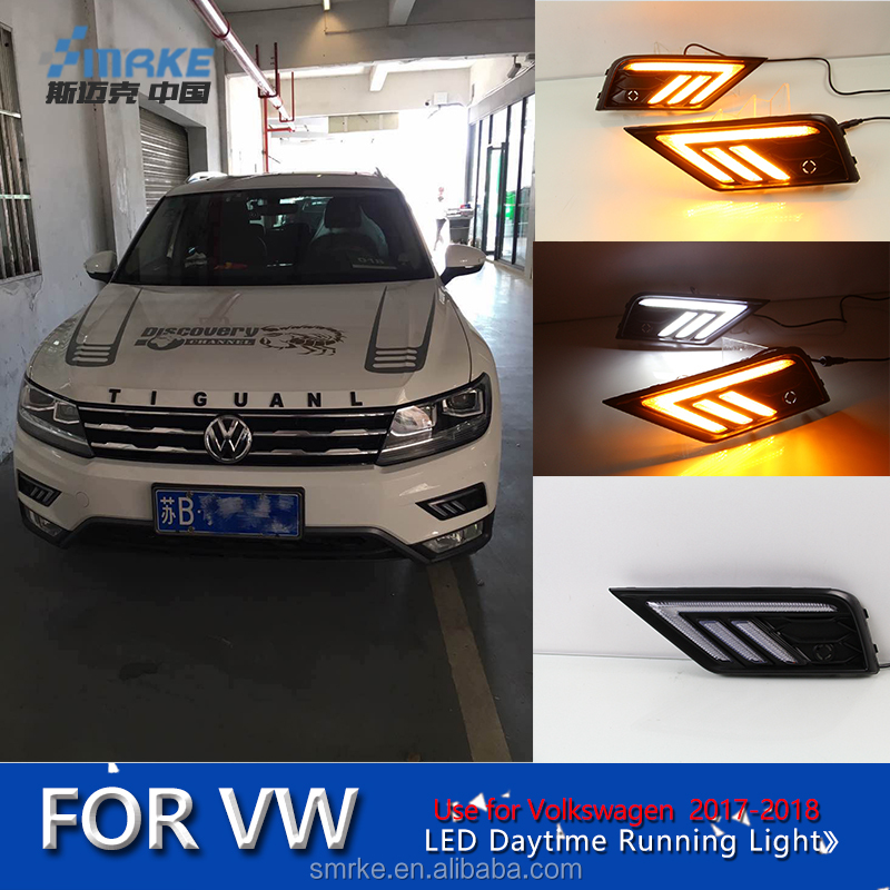 Auto Accessories for Volkswagen Tiguan L fog lamp drl 2017, led daytime running light for VW Tiguan L drl with yellow turning