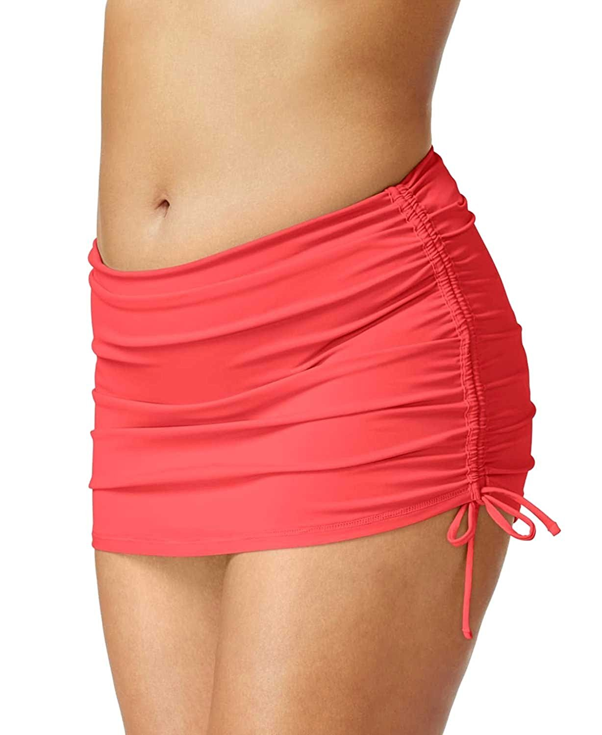 fba74c31ae Get Quotations · Island Escape Plus Size Side-Tie Swim Skirt Womens Swimsuit,  Coral, Size 16W