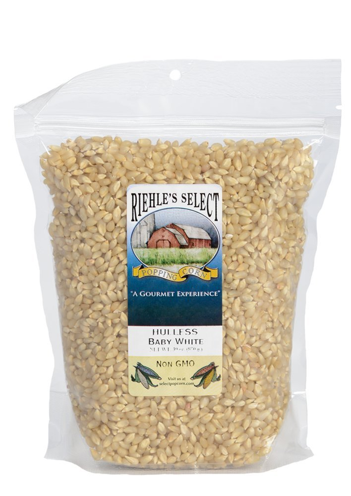 Riehle's Select Popping Corn - Hulless Baby White Whole Grain Popcorn - 2lb (30oz) Resealable Bag