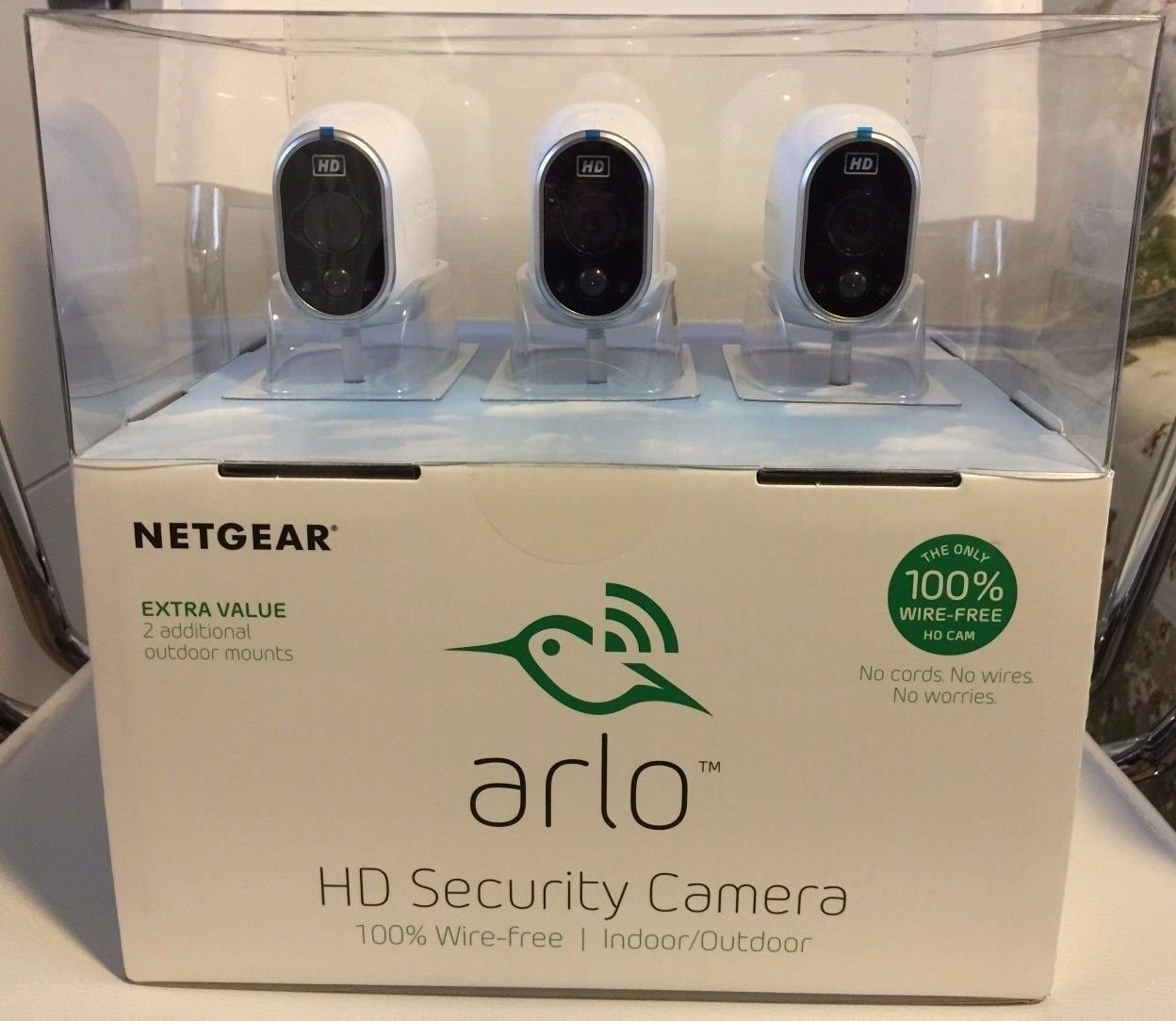 arlo smart home security system with 3 hd wire free