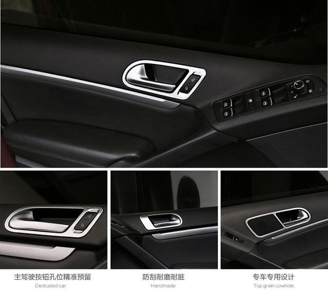 auto accessoires deurklink cover trim binnendeur trim voor volkswagen tiguan 2010 2011 2012 2013. Black Bedroom Furniture Sets. Home Design Ideas