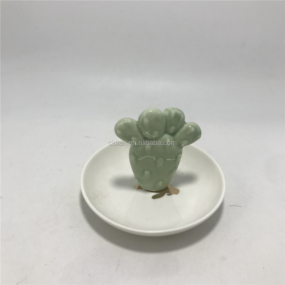 Small cactus ceramic ring holder jewelry display dish for decoration