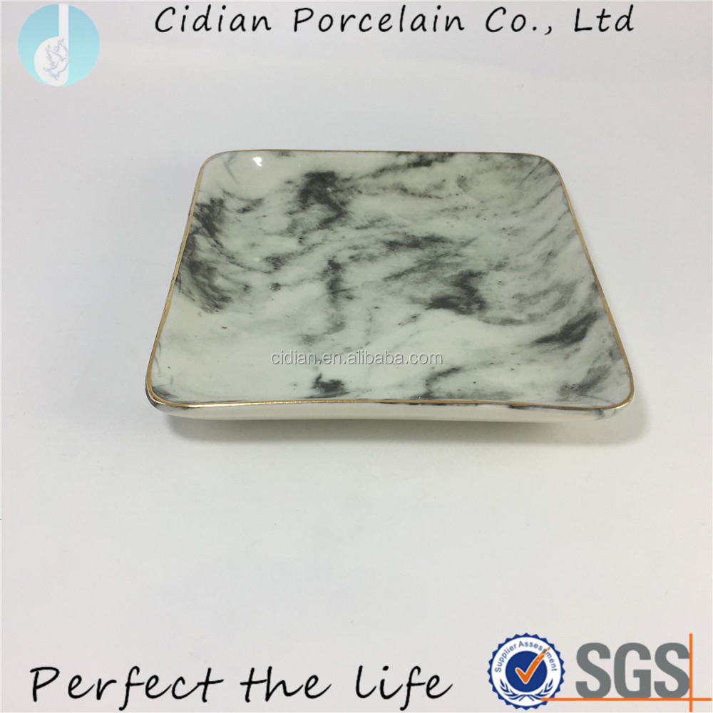 Square Ceramic design jewelry dish in marble pattern