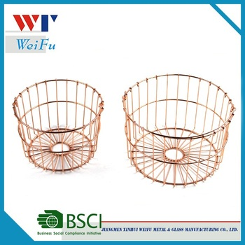 new round rose gold wire fruit basket storage basket with handle