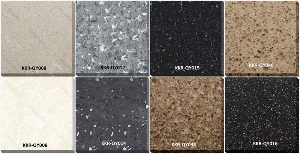 Kkr Artificial Cultured Quartz Marble Pure Black Synthetic Stone