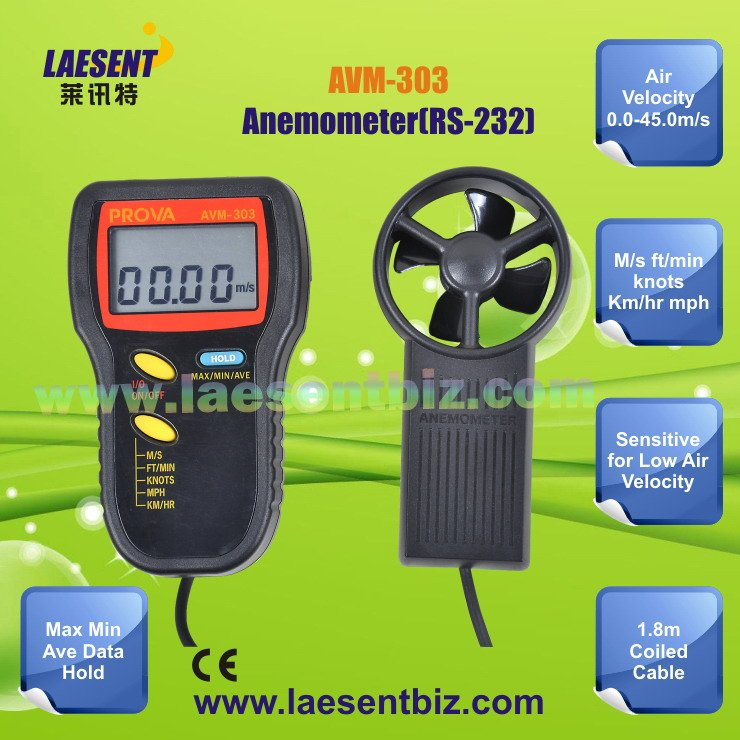Air Flow Meter Avm-303(0-45m/s) Rs-232c Interface With Pc + Free ...