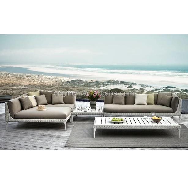 Imaginative reclining sectional aluminium top rattan lounge furniture set outdoor leisure balcony bed cum sofa
