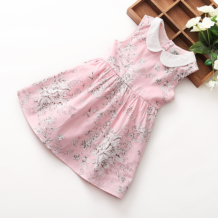 Hot sale pure cotton children girls vivi dress short evening dress