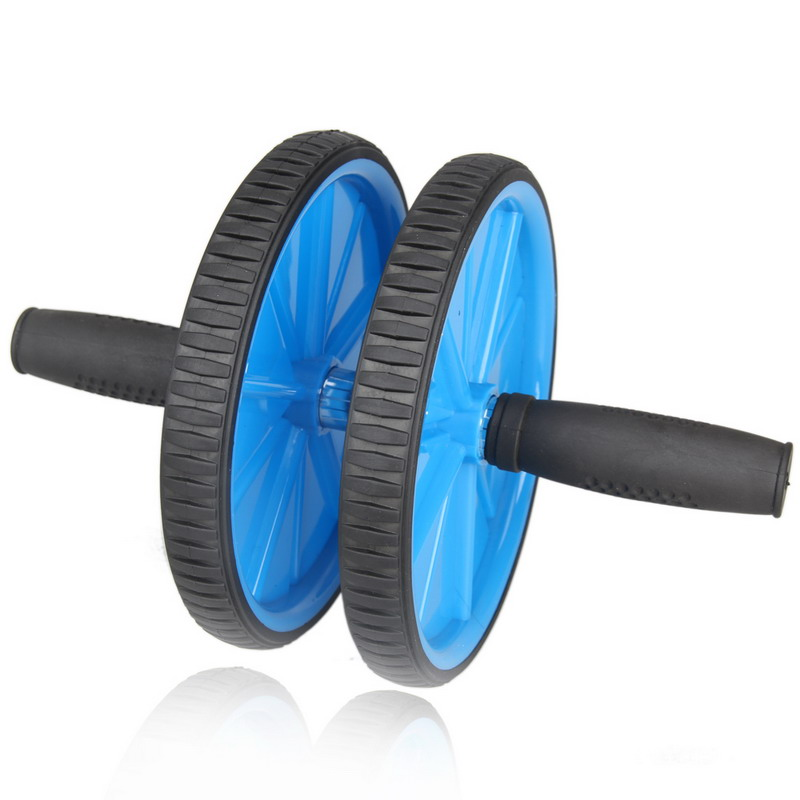 <strong>Fitness</strong> Exercise Blue Dual ABS Abdominal Roller Wheel Exerciser Workout Roller Body Building H1E1