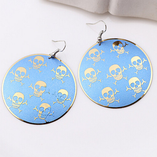 Environmentally Gorgeous Colored Drawing Skull Design Earrings Drop Big Long Computer Chip Color Plated Jewelry For Women Mom