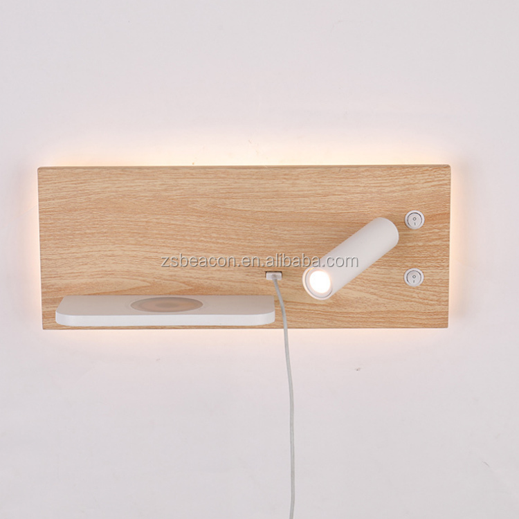 Factory Price top grade customization wall lamp with led spotlight lights with shelf for phone CE