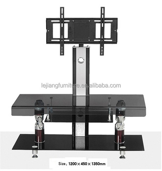 Color Hot Bent Glass Aluminium Modern Floor Standing LED TV Stand