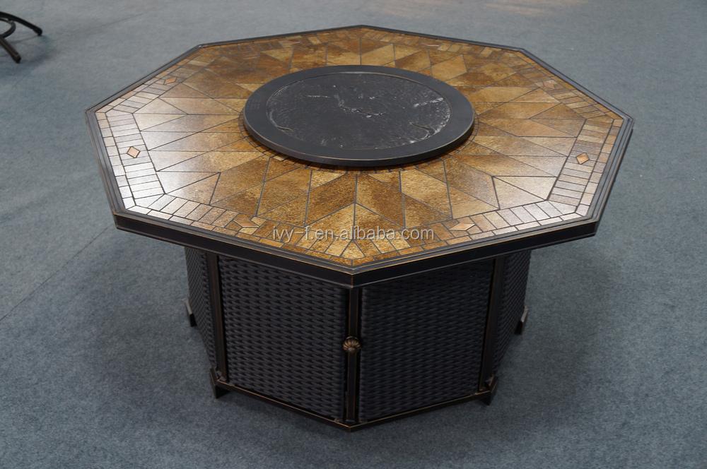 Tavolo Esterno Con Piastrelle : Gas esterno del fuoco tavolo fossa con piastrelle in ceramica con